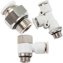 light gray push in fittings for metric thread