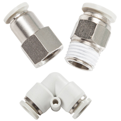 gray push in fittings for metric and inch tubing, npt thread