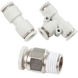 gray push in fittings for metric and inch tubing, R thread